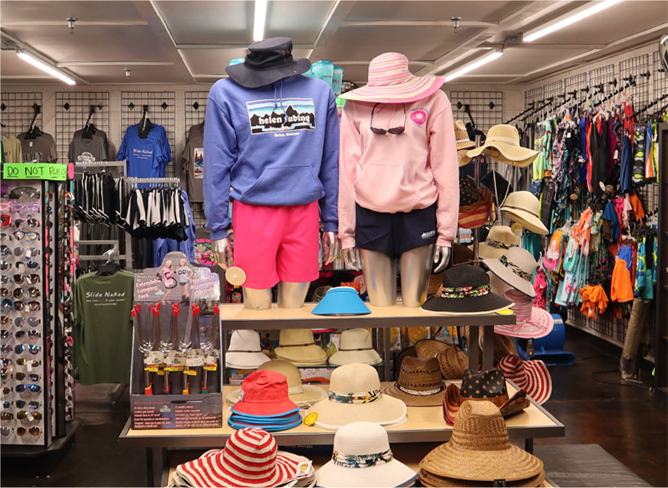photo of clothes on display in the gift shop